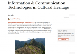 New Interview about Information & Communication Technologies in Cultural Heritage published on Ancient History Encyclopedia