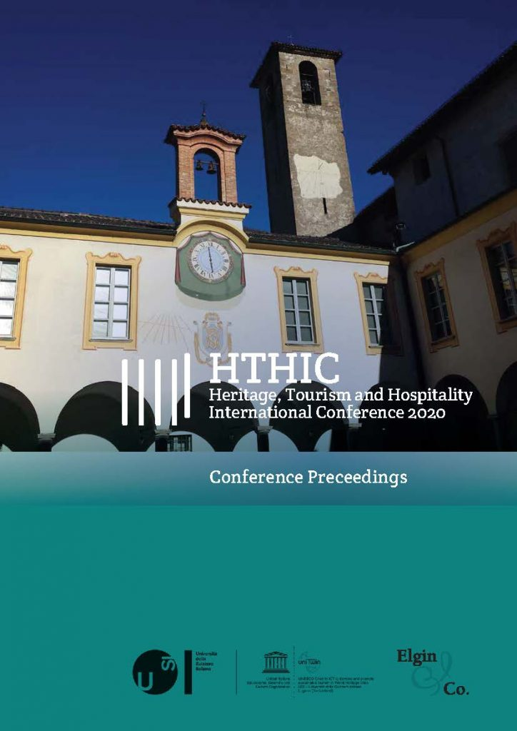 "Cantoni, L., De Ascaniis, S., & Elgin-Nijhuis, K. (Eds.) (2020). ""Preceedings"" of the Heritage, Tourism and Hospitality International Conference - HTHIC2020: ""Living Heritage and Sustainable Tourism"" (supposed to take place April 6-8, 2020, Mendrisio, Switzerland), USI - Università della Svizzera italiana (Lugano, Switzerland), ISBN 978-88-6101-020-8"
